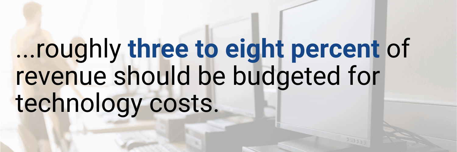 three to eight percent should be budgeted to technology costs